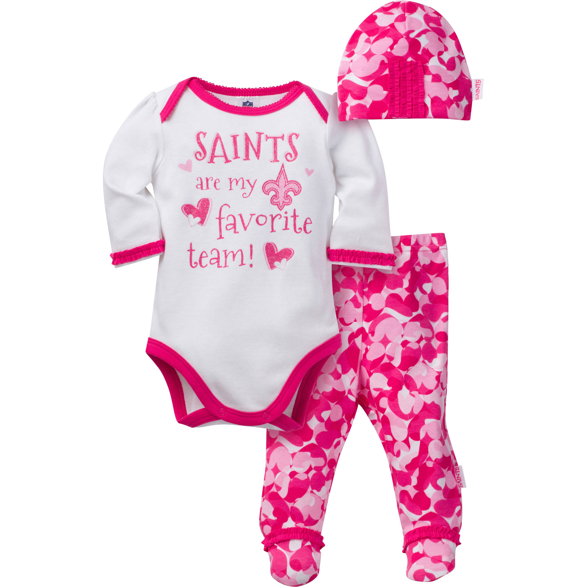 NFL New Orleans Saints Baby Girls Bodysuit, Pant and Cap Outfit Set, 3-Piece