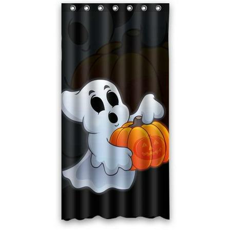 GreenDecor Halloween Ghost Waterproof Shower Curtain Set with Hooks Bathroom Accessories Size 36x72 inches](Halloween Shower Curtain Set)
