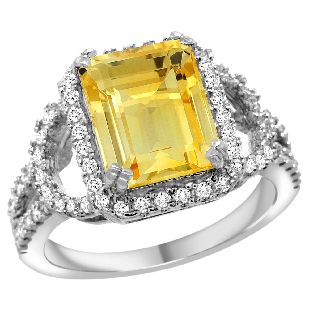14k White Gold Natural Citrine Ring Octagon 10x8mm Diamond Halo, 1 2inch wide, size 5.5 by Gabriella Gold