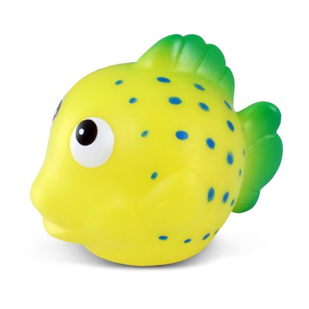 Rubber Fish (Toddler Bathtime Learning Toy Dollibu Bath Buddies Yellow Reef Fish Rubber Squirter Toy (Multipack of)