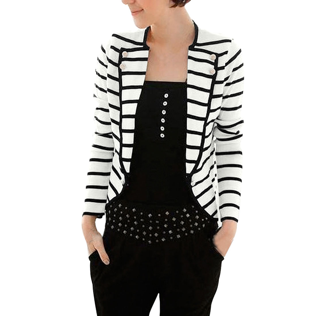 Allegra K Women's Notch Lapel Striped Blazer Jacket Black (Size XL / 16)