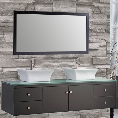 MTD Vanities Nepal 72'' Floating Double Bathroom Vanity Set with Mirror