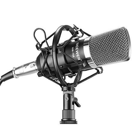 Neewer NW-700 Professional Studio Broadcasting & Recording Condenser Microphone Set Including: (1)NW-700 Condenser Microphone + (1)Metal Microphone Shock Mount + (1)Ball-type Anti-wind Foam Cap +