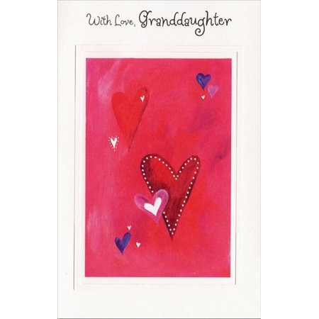Freedom Greetings Heart Clusters on Pink: Granddaughter Valentine's Day - Valentine's Day Hearts