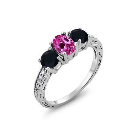 1.94 Ct Oval Pink Created Sapphire Black Onyx 925 Sterling Silver Ring