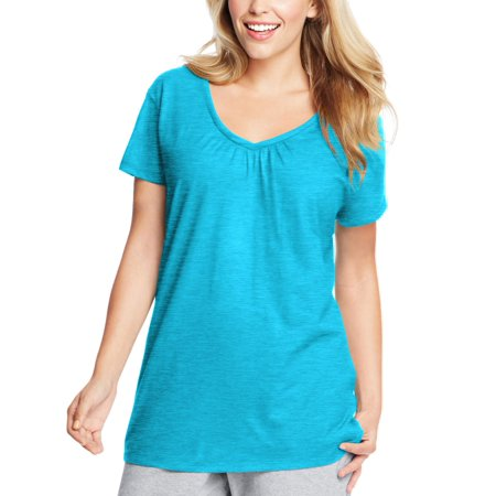 Maternity Shirred V-neck Tops - Women's Plus-Size Slub Shirred V-Neck