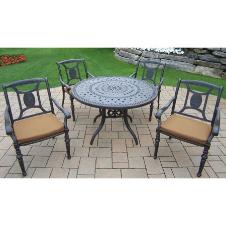Victoria Outdoor Cast (Oakland Living Victoria Aluminum 5 Piece Round Patio Dining)