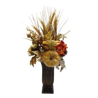 Way To Celebrate Harvest Floral Pumpkin Mix Vase, Creme