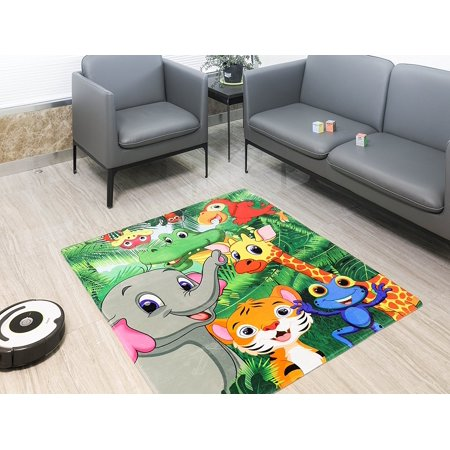 New Super Soft Printed Kids Area Rug from the All American Collection (133 x 150, Happy Jungle)
