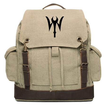 Doctor Strange Symbol Vintage Canvas Rucksack Backpack with Leather Straps (Doctor Who Backpack)