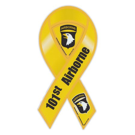 - Magnetic Bumper Sticker - 101st Airborne Division (Army, Screaming Eagles) - Ribbon Shaped Military Support Magnet - 4