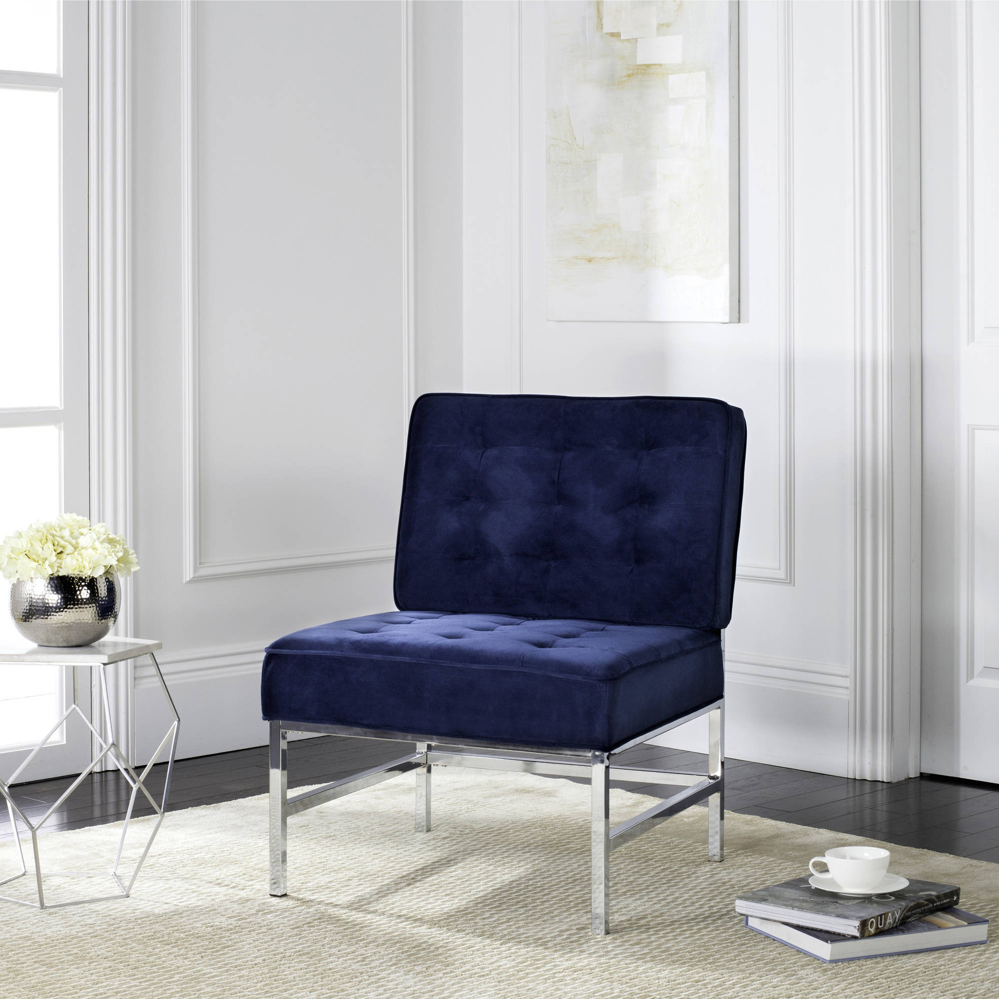 Safavieh Ansel Modern Tufted Chrome Accent Chair, Multiple Colors