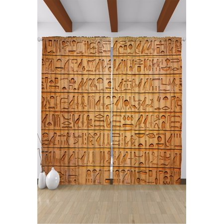 Egyptian Hieroglyphics Papyrus Living Room Curtains 2Panels Set 108x90 Inches