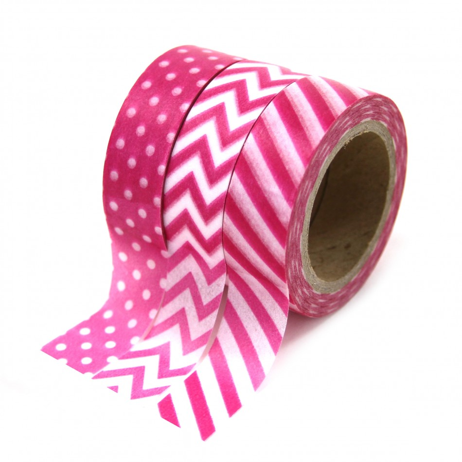 Dress My Cupcake Party Collection Washi Paper Tape, Fuchsia, Set of 3