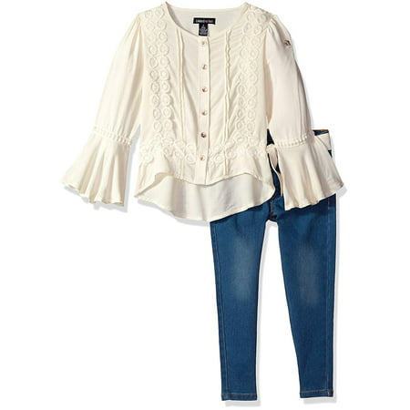 Bell Sleeve Lace Top and Jeans, 2-Piece Outfit Set (Little Girls & Big Girls)](Girls Out Fits)