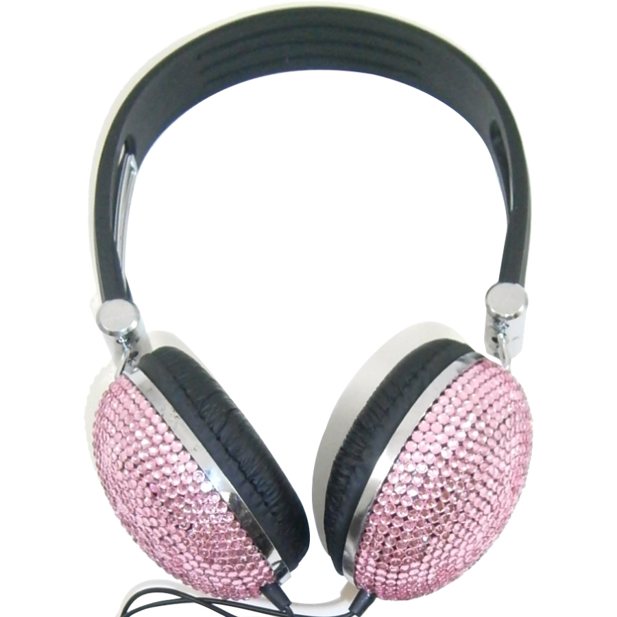 Light Pink Crystal Rhinestone Bling Dj Over-ear Headphones