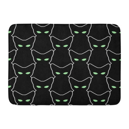 Halloween Window Silhouettes Cat Eyes (GODPOK White Outline Black Cat for Halloween The of Pets Retro Many Silhouettes with Green Eyes Abstract Rug Doormat Bath Mat 23.6x15.7)
