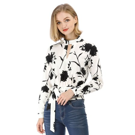 Unique Bargains Women's Choker V Neck Long Sleeves Tie Smocked Waist Cropped Floral
