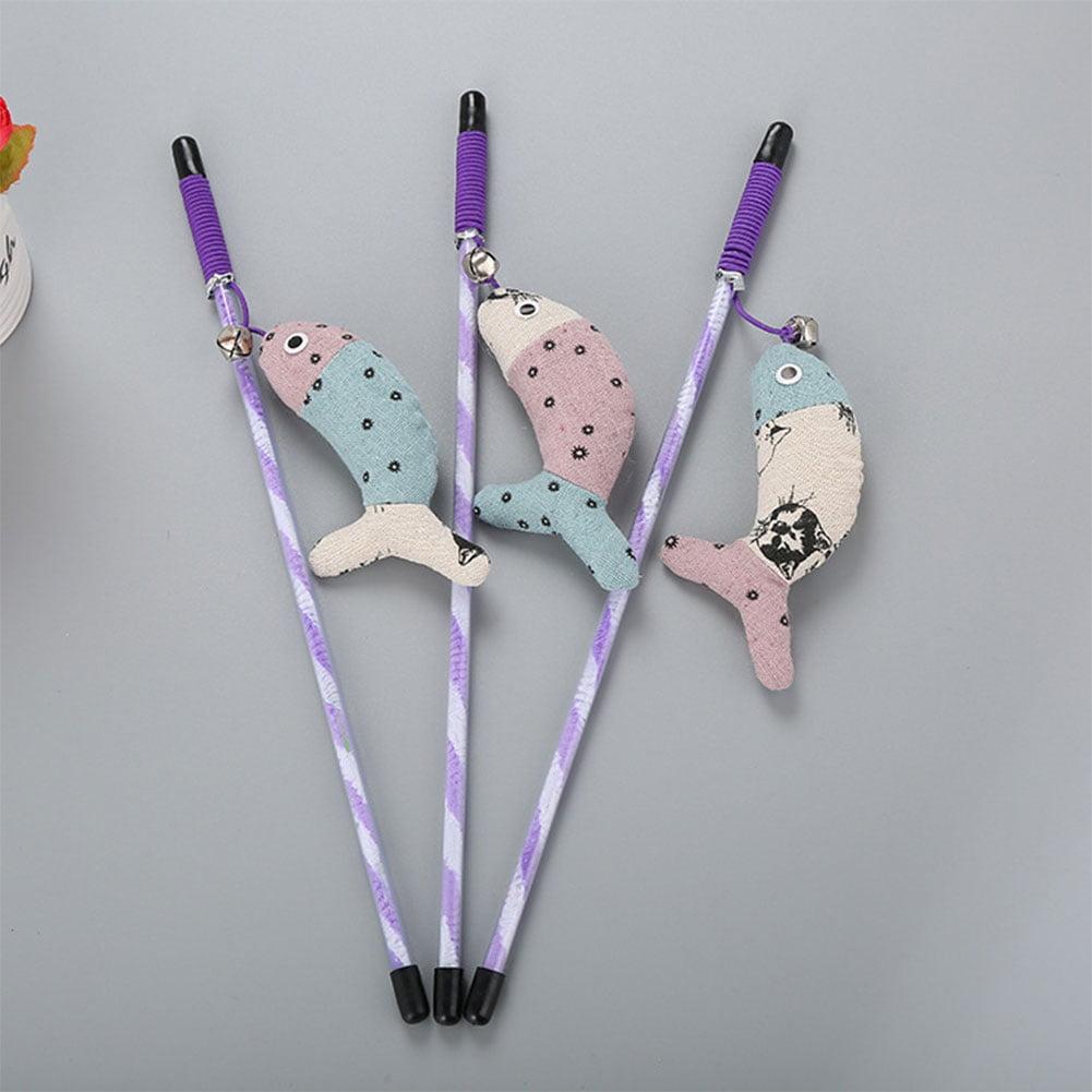 Girl12Queen Cute Fish Shape Interactive Pet Cat Teaser Wand Kitten Play Toy Stick Rod Tool