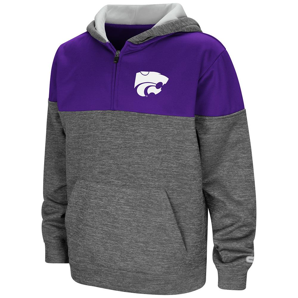 Youth Kansas State Wildcats Quarter Zip Pull-over Hoodie - S