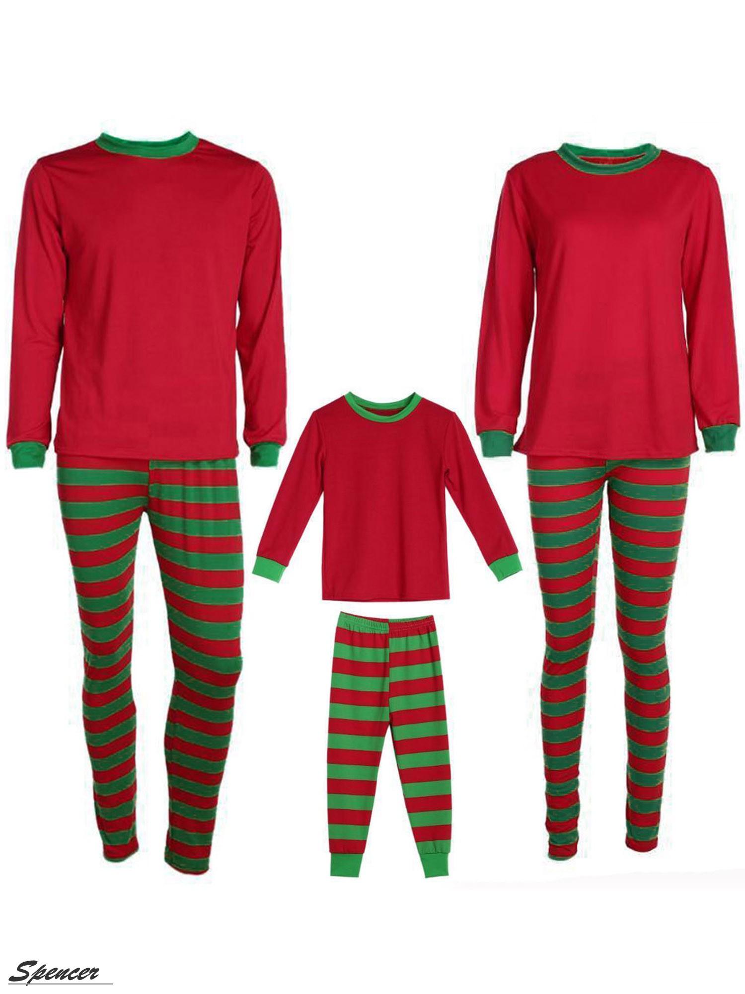 Spencer 2Pcs Family Christmas Pajamas Set Striped Long Sleeve Pants Nightwear Sleepwear Set for Dad Mom Kids