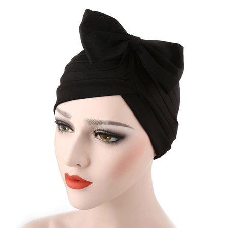 SHOPFIVE  Indian Hat Bow Solid Color Headscarf Hat Muslim Headgear Headwear