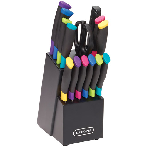 Farberware 15 Piece Soft Grip Cutlery-Knife Block Set with Color Accents