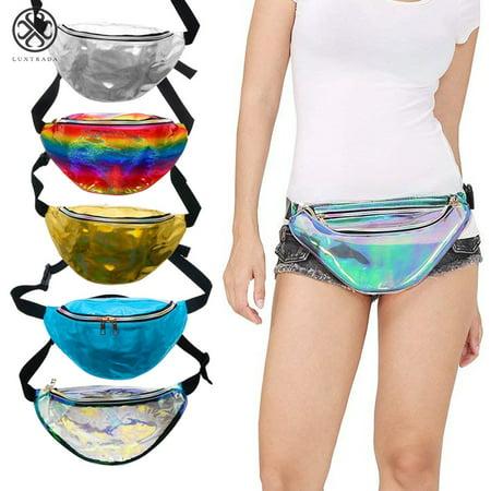 Luxtrada Fashion Hologram Fanny Waist Pack Shiny Metallic Bum Travel Waist Pouch Bag for Women