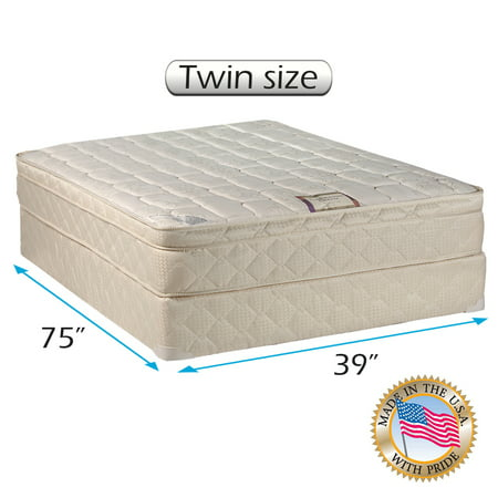 "Dream World Inner Spring Pillowtop (Eurotop) Mattress set Bed Frame Included (Twin size - 39""x75""x10"") - Medium Soft, Fully assembled, Orthopedic Type, Great Quality by Dream Solutions USA"
