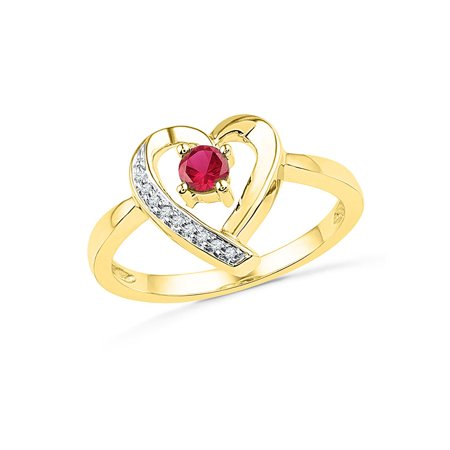 One Love Round Ring - 10kt Yellow Gold Womens Round Lab-Created Ruby Heart Love Ring 1/4 Cttw