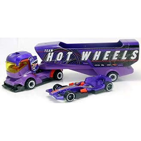 Hot Wheels Big Rig Heat with Detachable Trailer and Car - Purple Team