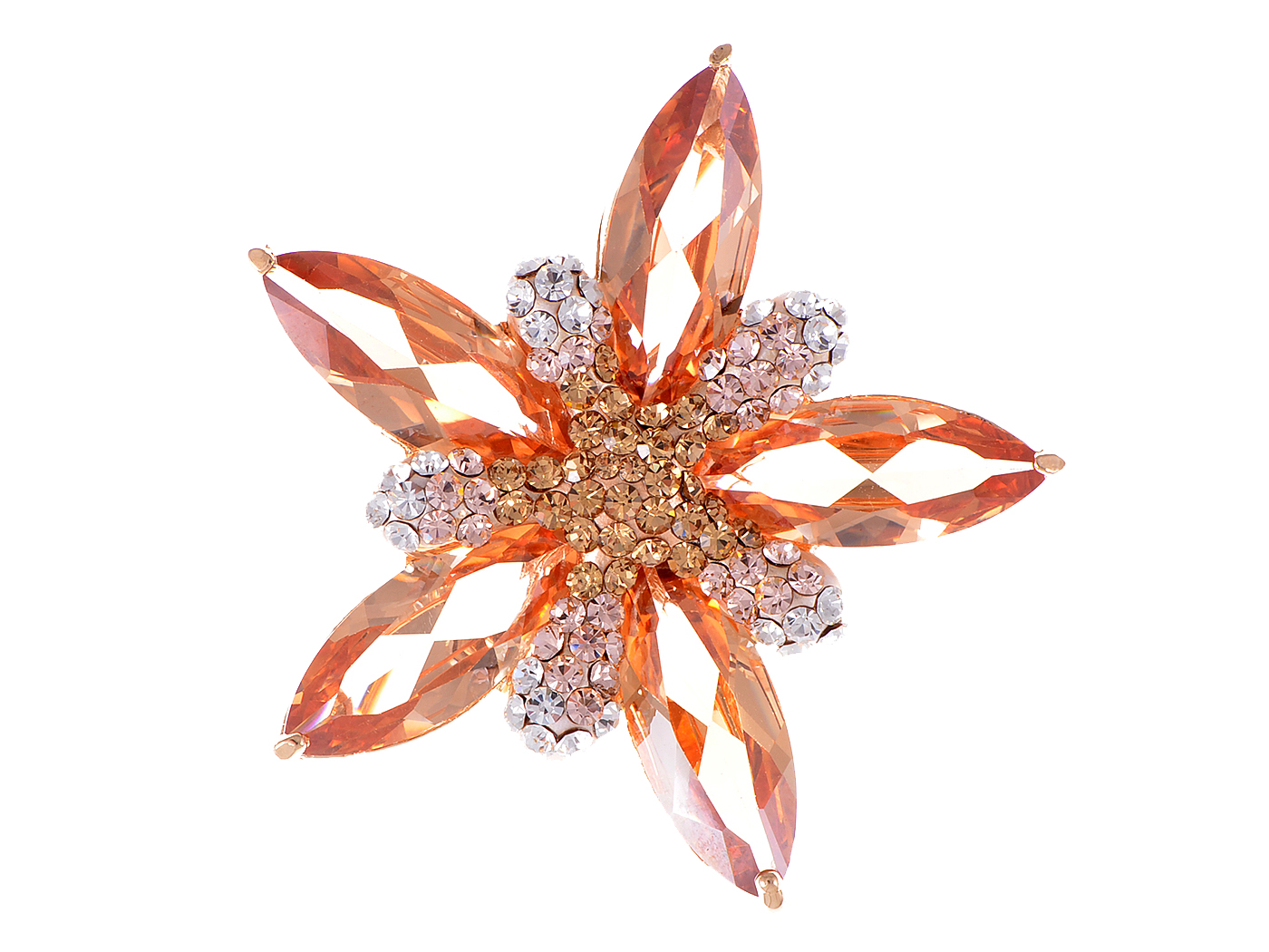 Amber Topaz North Holy Sacred Star Fleur Crystal Rhinestone Pin Brooch by