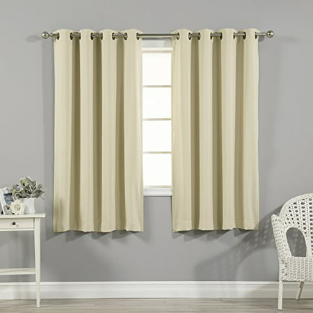 - Quality Home Thermal Insulated Blackout Curtains - Antique Bronze Grommet Top - Beige - 52
