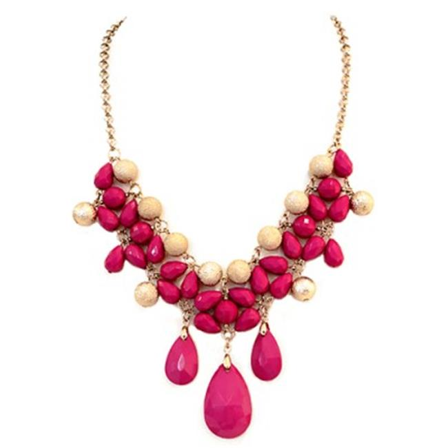 C Jewelry Gold & Fuchsia Teardrop Beads With Textured Ball Bib Necklace