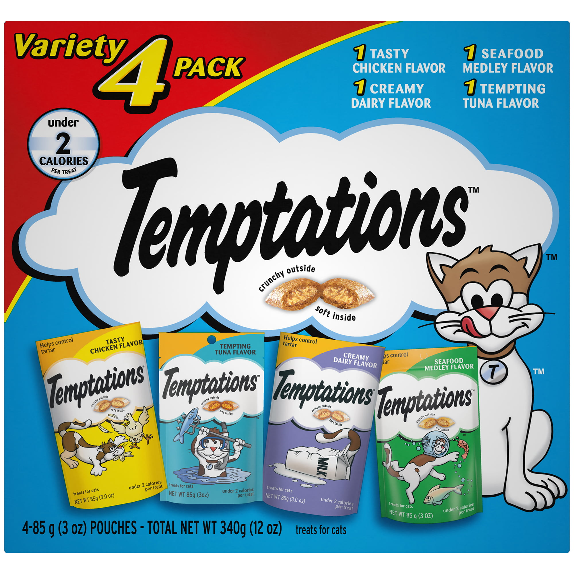 TEMPTATIONS Classic Cat Treats Feline Favorites Variety Pack, (4) 3 oz. Pouches by Mars Petcare