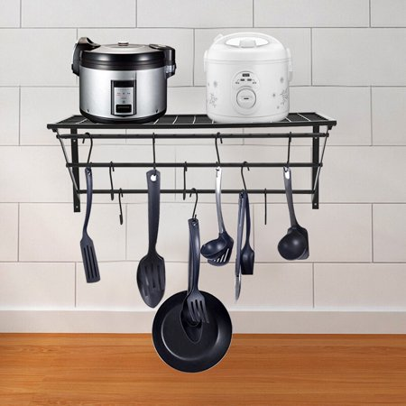 Kitchen Shelf Folding Kitchen Wall Hanging Pot Rack With 10 Hooks Black