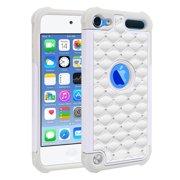 FINCIBO Hybrid Rhinestones Case TPU Back Case for Apple iPod Touch 6 (6th Generation), White Grey