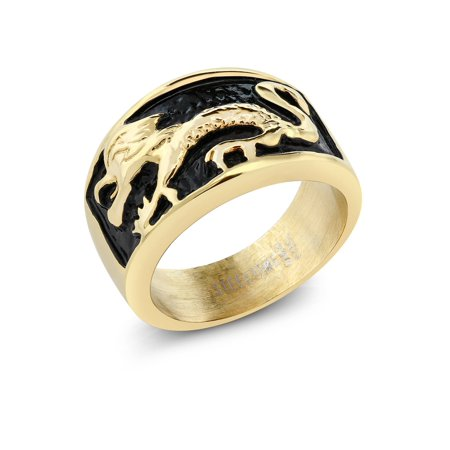 13MM Stainless Steel two Tone Color Gold Plated and Black Dragon Ring For Men - Dragon Ring Jewelry