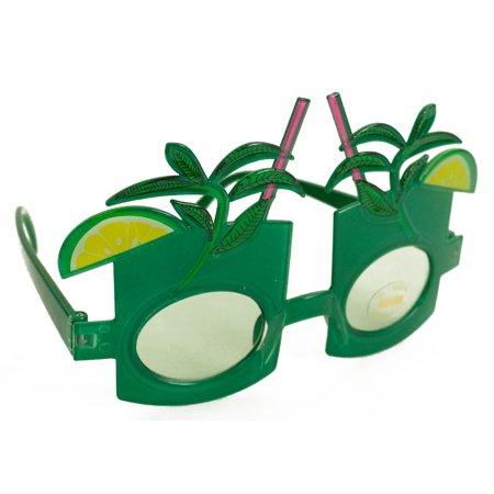 Luau Hawaiian Tropical Drink Sunglasses, Green Frame, Green Lens, OS for $<!---->