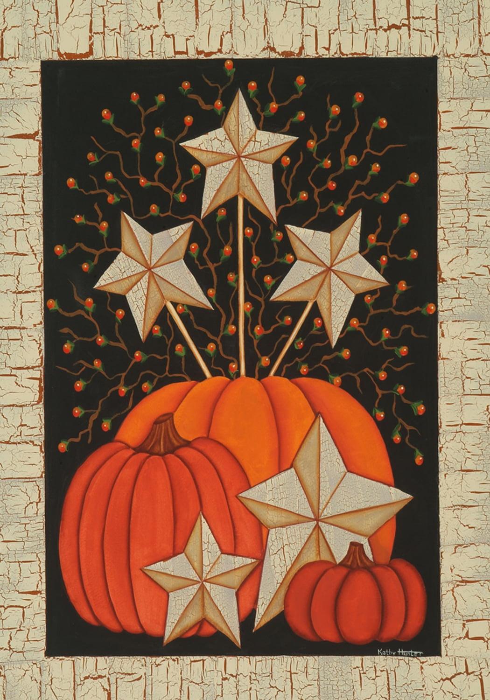 Starburst Pumpkin Fall House Flag Primitive Star Berries Rustic ...