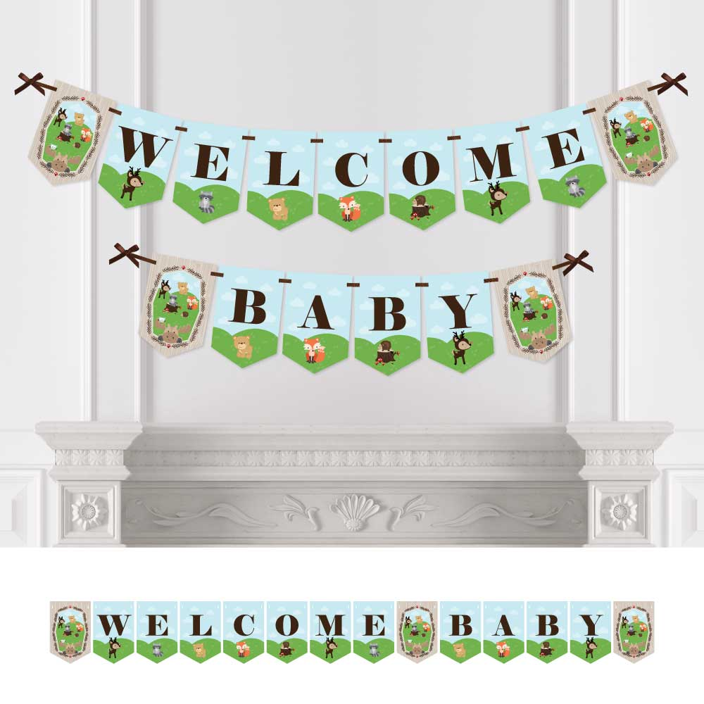 Woodland Creatures - Baby Shower Bunting Banner - Forest Friends Party Decorations - Welcome Baby