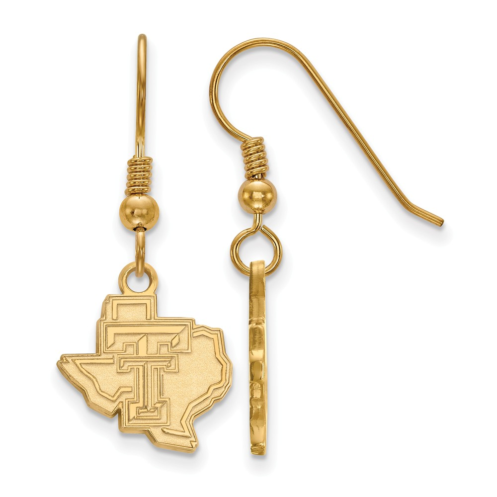 Solid 925 Sterling Silver with Gold-Toned Texas Tech University Small Dangle Earrings