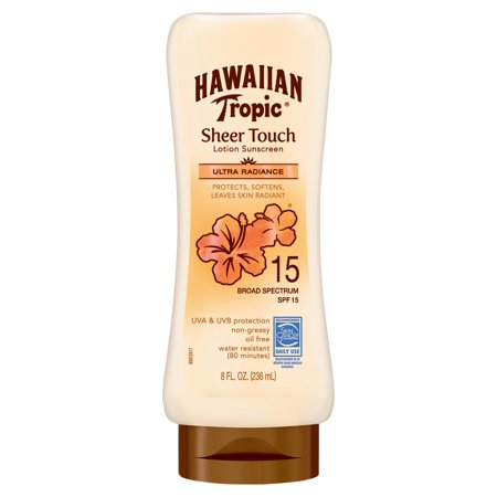 Hawaiian Tropic Sheer Touch Ultra Radiance Lotion Sunscreen SPF 15, 8 (Best Suntan Lotion For Black Skin)
