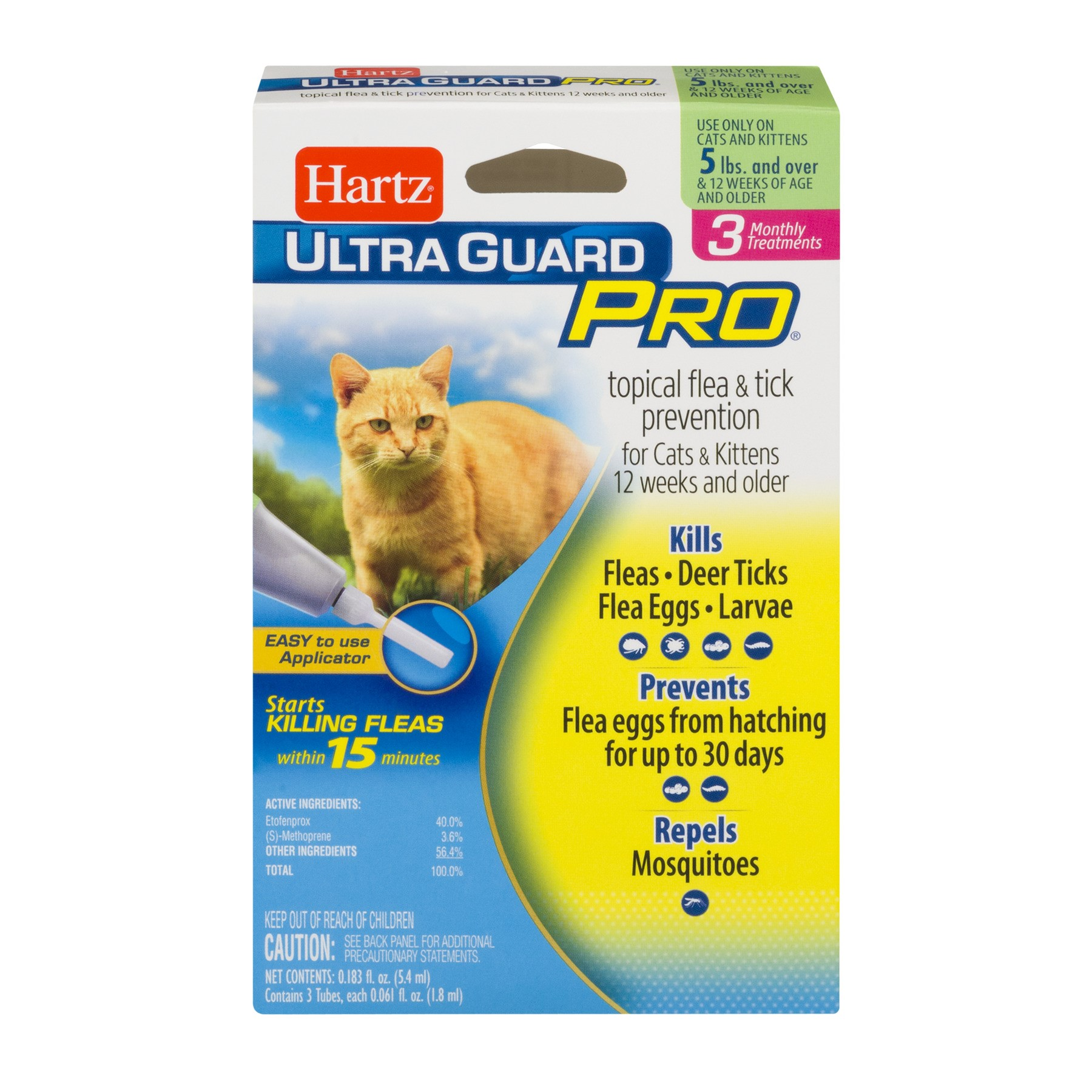 Hartz UltraGuard Pro Flea and Tick Cat Treatment, 3 Monthly Treatments