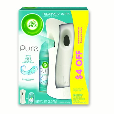 Air Wick Pure Freshmatic Automatic Spray Kit (Gadget + 1 Refill), Ocean Breeze, Air Freshener (Inktec Refill Kit)