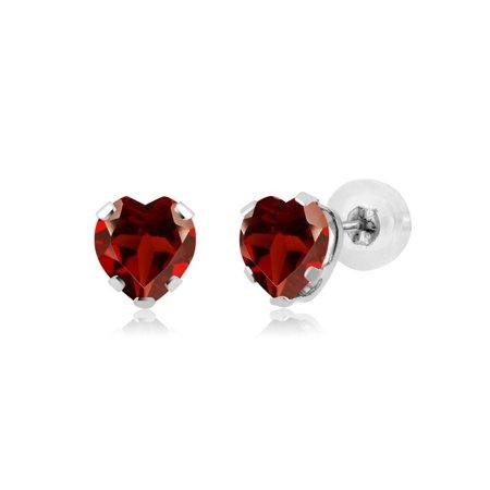 1.10 Ct Heart Shape Red Garnet 14K White Gold 5-prong Stud Earrings 5mm