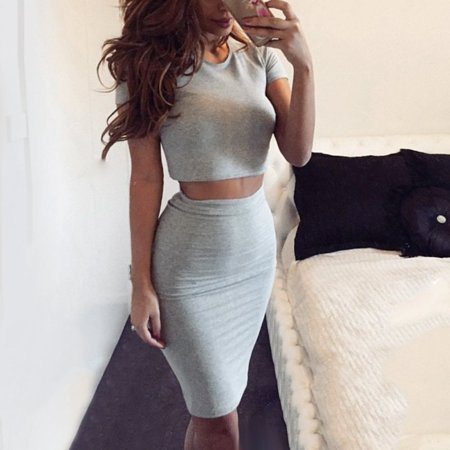EFINNY Sexy Women Summer Outfits Party Bodycon Dress Crop +Slim Midi Pencil Skirt Set (Womens Outfits)