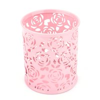 Pro Space Pencil Holder Hollow Floral Pattern Metal Pen Pot Cylinder Container Round Office Desk Organizer, Pink