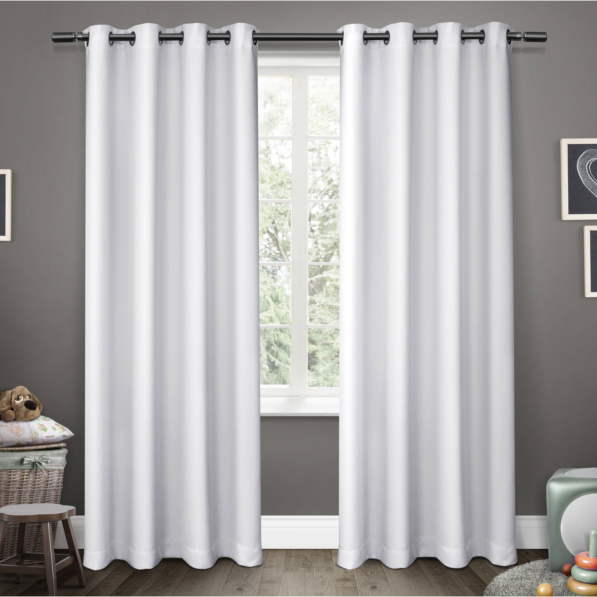 "Kids Sateen Room Darkening Grommet Top Window Curtain Panel Pair, White, 52"" X 96"""