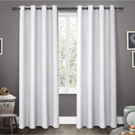 Kids Sateen Room Darkening Grommet Top Window Curtain Panel Pair White 52 X 96